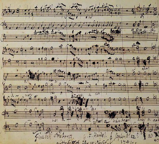 Handel's autograph score for the Messiah. Natuurlijk moet je ook je eigen muziek maken door de noten op te schrijven. En inderdaad soms krijg je dit op je blaadje te staan. Ik vind het wel leuk te zien dat andere ook net als mij gek te keer gaan op een muziek vel en duizend keer krassen.  Titel: Handel's autograph score for the Messiah. Maker: George Frideric Handel Jaar: 1741