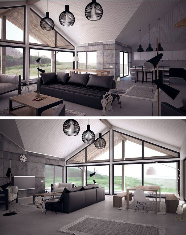 open plan large windows vaulted ceiling living room interior design