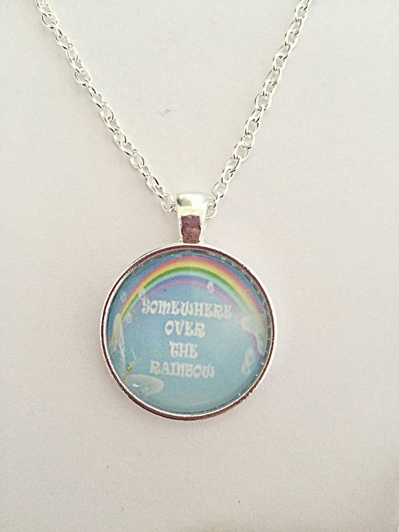 Rainbow Quote Necklace  Somewhere Over The Rainbow  by EmmaFleet