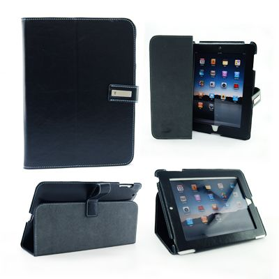 """iPad case with Exec""""s signature magnetic buckle, suitable for iPad 2. Size: 20cm x 25.5cm."""