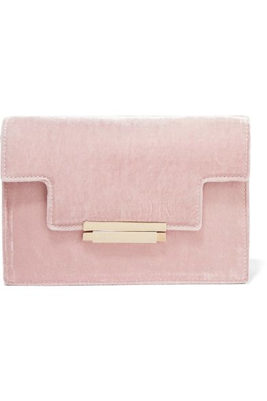 AERIN's structured clutch is made from plush pastel-pink velvet - our go-to fabric of the season. This Art Deco-inspired style is designed with a sleek gold clasp and satin-lined interior that's sized to fit your evening essentials - think cell phone, keys and cardholder.  x