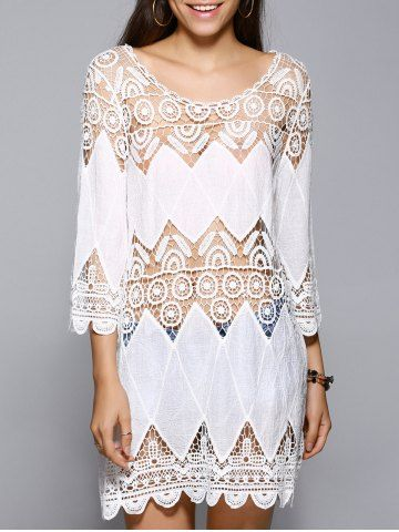 Trendy 3/4 Sleeve Lace Spliced Hollow Out White Cover-Up