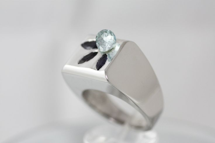 Statement Ring - Sterling Silver ring - Blue Topaz & Iolites mounted on Sterling Silver Platinum plated - Bluebird ring