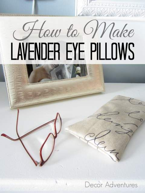 Use fabric, rice and lavender to make lavender eye pillows. A simple, and pretty item to use for yoga or make drawers smell pretty.