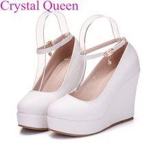 Blanco Elegante cuñas zapatos cuñas bombas para mujeres de la plataforma zapatos de tacón alto del dedo del pie redondo blanco tacones altos zapatos de las cuñas de la plataforma zapatos(China (Mainland))