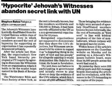 Watchtower Society - United Nations NGO Status 1992