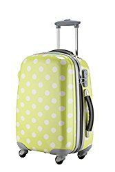 """Ambassador Luggage Polka Dots Polycarbonate Expandable 20"""" Carry On Spinner Suitcase"""