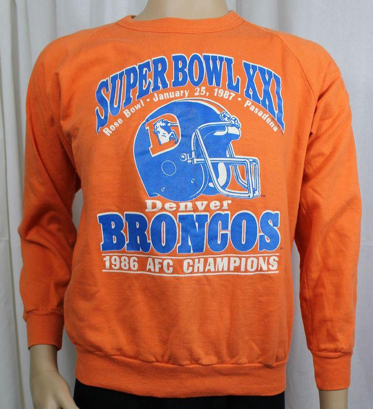 Denver Broncos Super Bowl XXI Large Sweatshirt Vintage 1986 AFC Champions #JenniferDawnInc #DenverBroncos