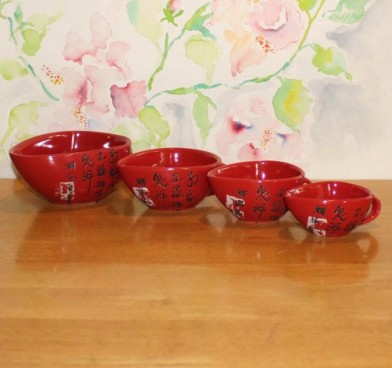 Vintage Red Orange Asian Measuring Cups by cocoandcoffeevintage
