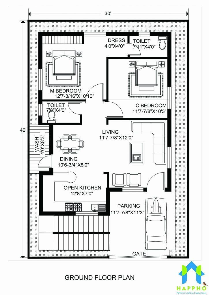 40 X 30 House Plans Unique Floor Plan For 30 X 40 Feet Plot In 2020 30x40 House Plans Indian House Plans 20x30 House Plans