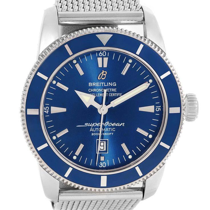 15013 Breitling Superocean Heritage 42 Blue Dial Mesh Bracelet Watch A17320 SwissWatchExpo