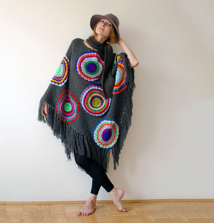 Poncho, Plus Size,  Woolen Cape, Women, Grey Gray  with Multicolored Circles by subrosa123 on Etsy