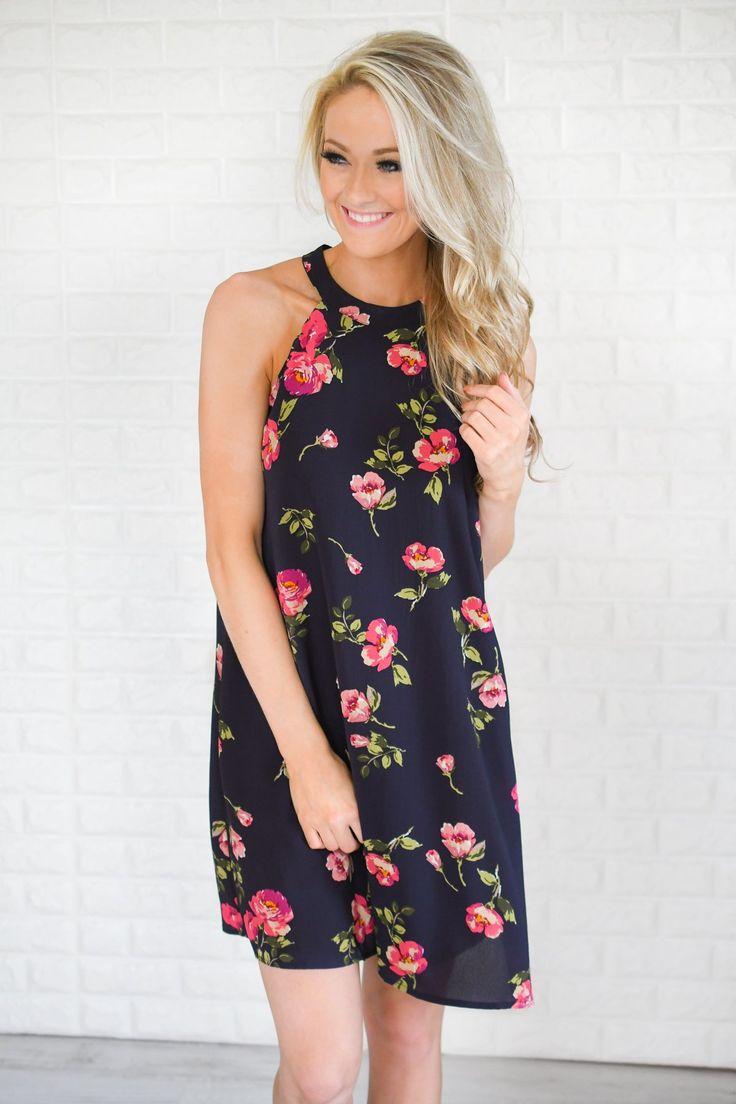 Navy & Floral Halter Dress – The Pulse Boutique