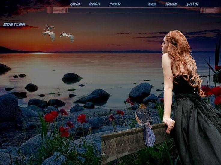 """"""" """"Asbayfm"""" """" Deniz-Kuş ve Çiçek radyo teması Gelincik 725, yeni güzel gökyüzü manzaralı flatcast fcpli tema, kızıl saclı güzel kadınlı gelincikli radyolarınızı süsleyecek flatcast fcpli tema, deniz manzaralı kuşlu siyah kıyafetli - Göktepe Köyü Web Sitesi"""