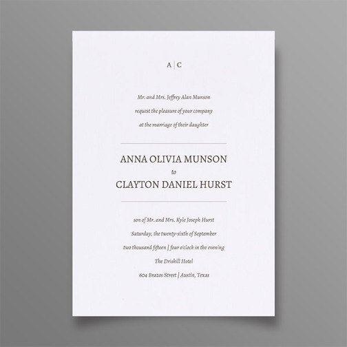 Simple Wedding Invitation Minimalist Wedding by SuitePaper on Etsy