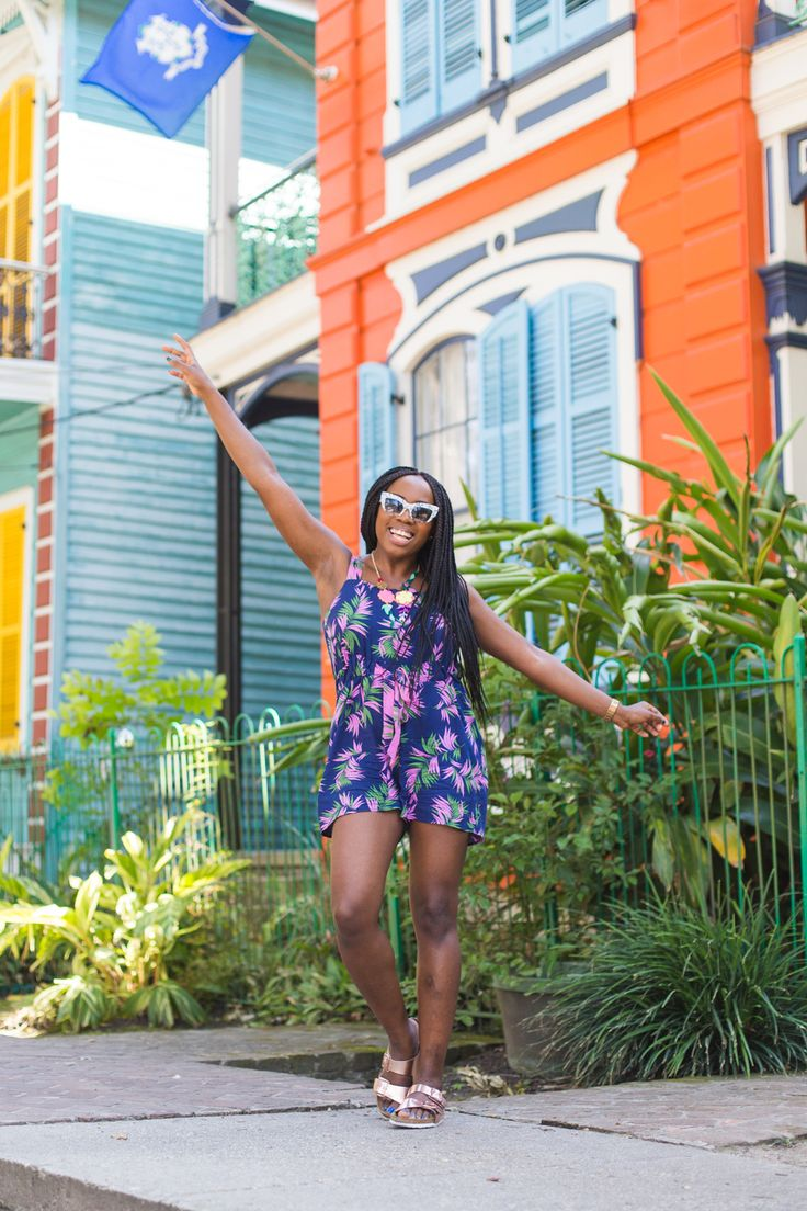 Wearing a tropical Warehouse playsuit in New Orleans