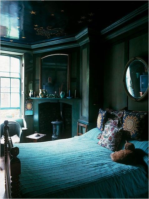 Deep teal jewel-box bedroom- glossy celestial ceiling.  Would consider doing this with a dark emerald green instead of the teal.
