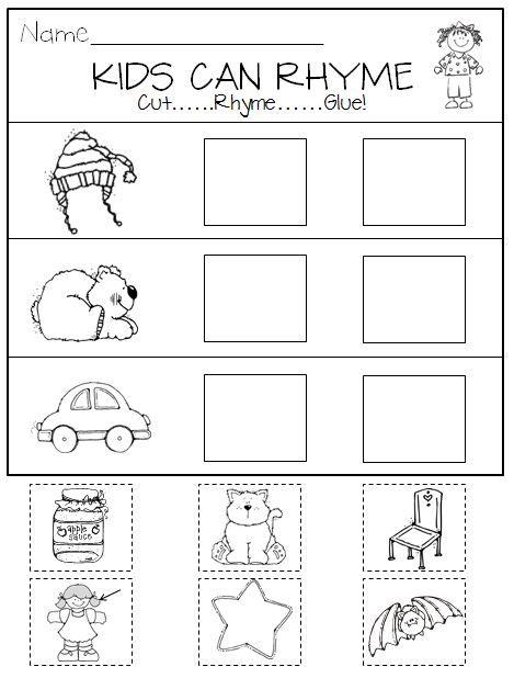 Rhyming in Kindergarten Printables and Center Activities ...