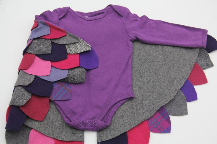 Baby Girl Owl Bird Halloween bodysuit onesie Costume 9 - 12 months Cape Pink Purple Gray Upcycled wool Ready to Ship by RepurposedWoolStudio on Etsy