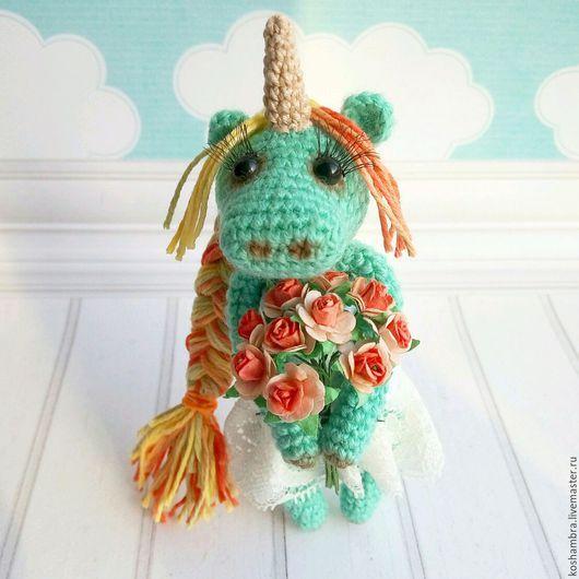 Toy Miniatures handmade. Livemaster - handmade. Buy Spring unicorn Mirra.Unicorn, March 8, handmade, yarn, iris