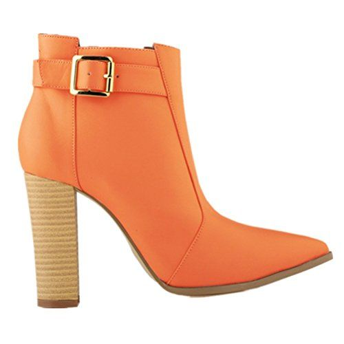 LOVEBEAUTY Orange Ankle Boots for Women - #LOVEBEAUTY #Orange #ankle #boots