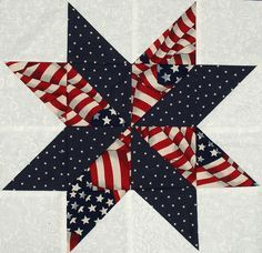 shooting star quilt block pattern   Starflower Quilt Blocks Patriotic Flag and Star by KAHDesigns