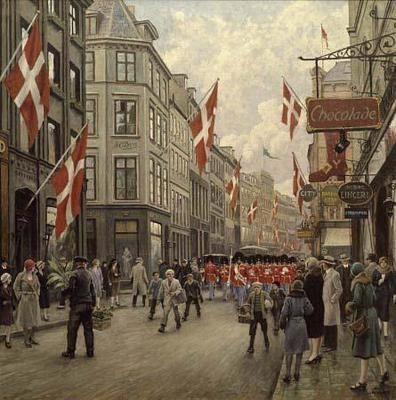 The Royal Danish Lifeguards Marching Through Ostergade, Copenhagen by Paul Fischer