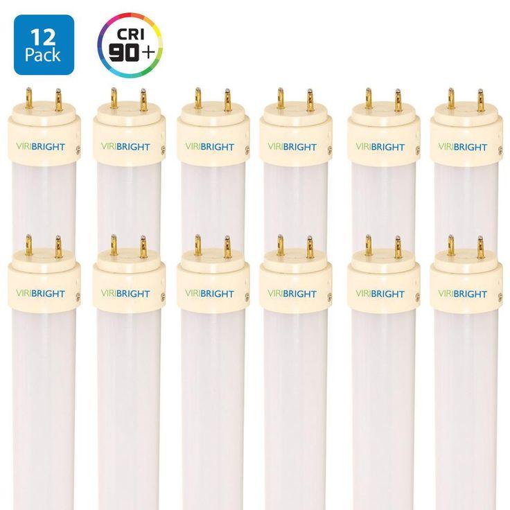 4 ft. 40-Watt Equivalent Ballast Bypass Cool White (4000K) T8 LED Tube Light Bulb (12-Pack)