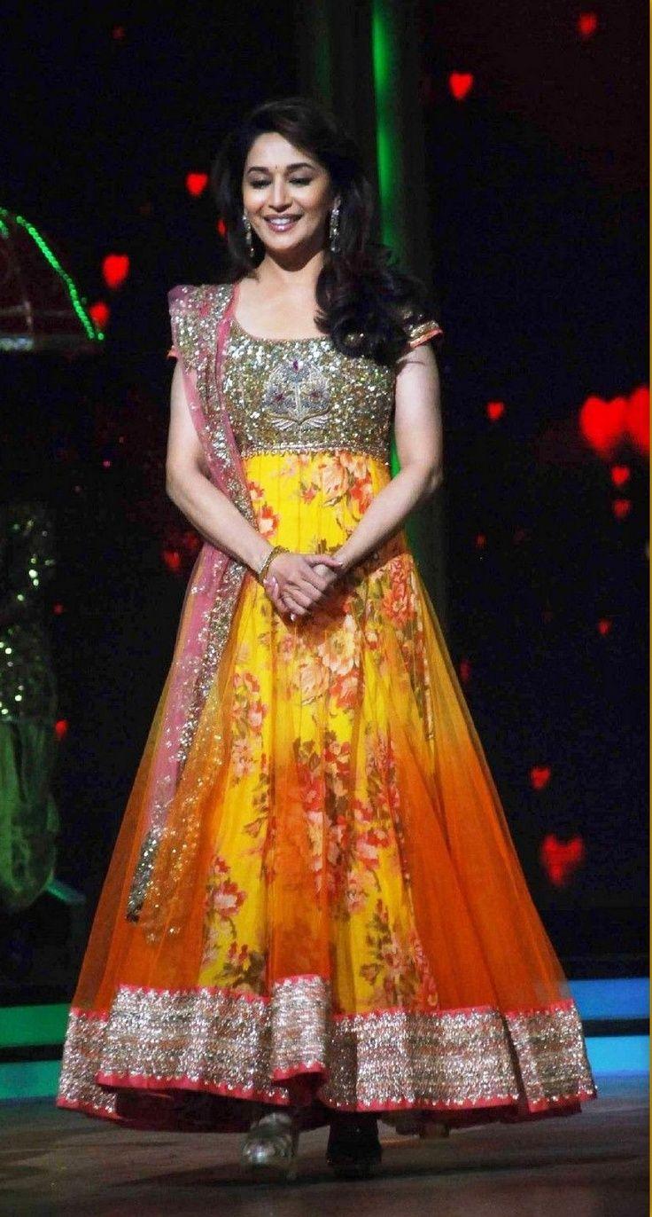 Madhuri Dixit wearing Yellow Anarkali