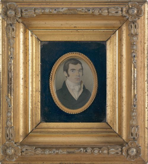 """Miniature watercolor on paper bust length portrait of a gentleman, 19th c., in a shadow box frame with an oval inset, opening - 5"""" x 4 1/4""""...."""