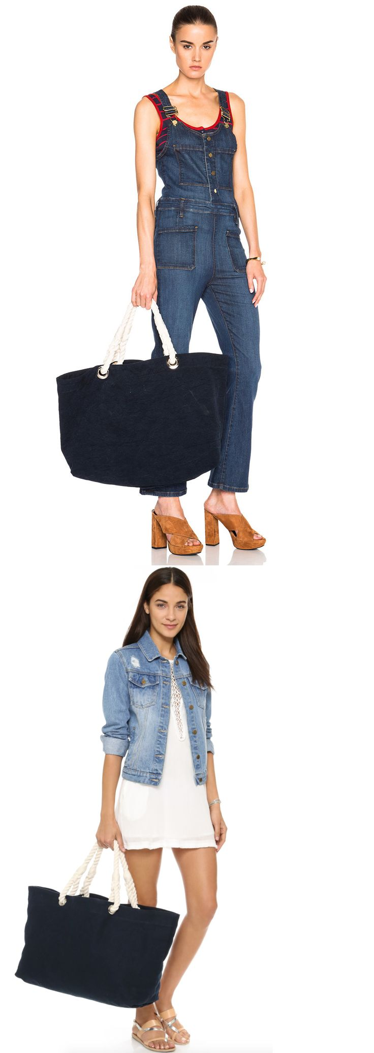 Reusable Eco Bags 169302: Frame Denim Le Canvas Beach Bag Tote W Rope Handles Navy Blue And White $265 -> BUY IT NOW ONLY: $39 on eBay!