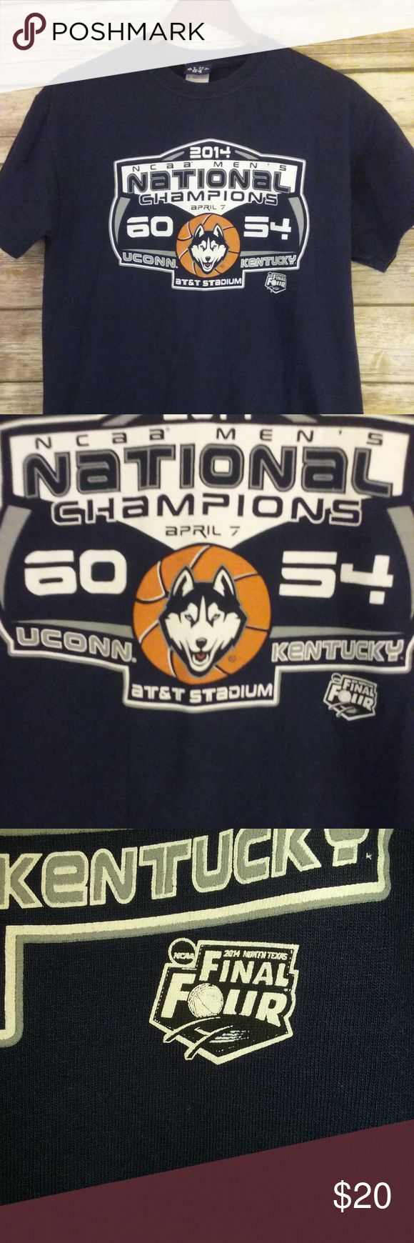 "UCONN NCAA 2014 Men's Champs T-Shirt Size Medium Nice UCONN Final Four Men's Basketball National Champions April 7, 2014 UCONN vs. Kentucky t-shirt showing final score of 60 to 54.  Made by Blue 84, men's size medium measures approximately 26.5"" long from back collar and 18"" underarm to underarm. Please measure against current closet items :) Blue 84 Shirts Tees - Short Sleeve"