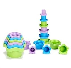 Green Toys Stacking Cups made in the USA from 100% recycled milk containers. No BPA, Phthalates or external coatings