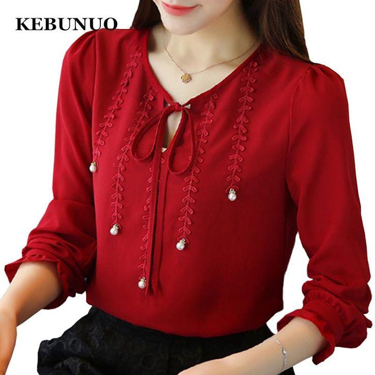 Women Chiffon Blouse Shirt Full Petal Sleeve Blusas Shirts Autumn Femme Casual Tops Slim Ladies Plus Size Blouses White Red Pink  #trends #instadaily #latesttrend #like4like #fashionlove #fashion #instalike #summer #likeforlike #follow4follow