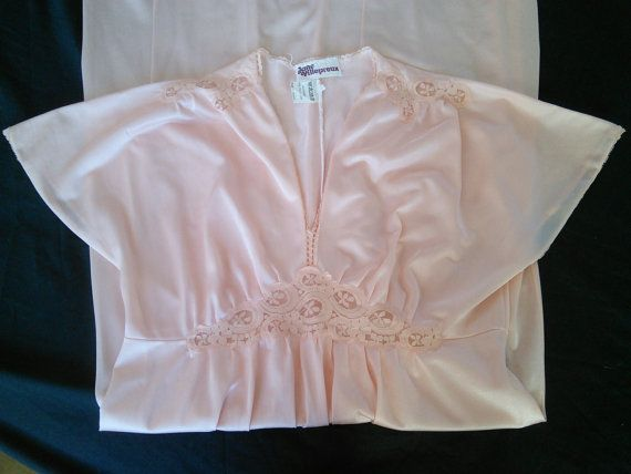 Peach French Lace Nightgown 1970s French by FromParisToProvence