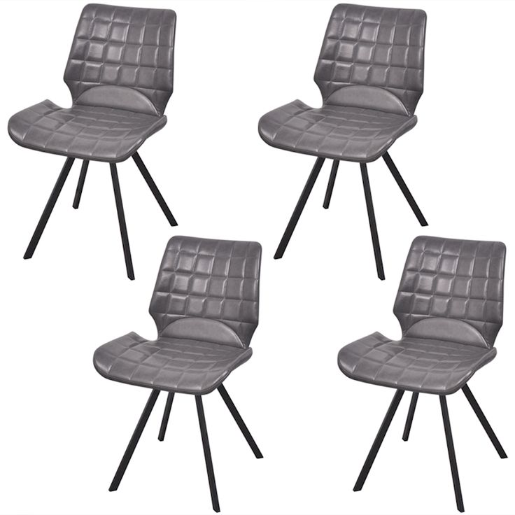 Vidaxl 4Pc Grey Pu Leather Dining Chair Padded Seat Steel Leg Kitchen Furniture | Buy Sets of 4
