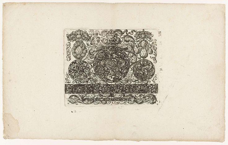 Johann Wilhelm Heel   Ontwerpen voor sieraden, Johann Wilhelm Heel, c. 1660   Blad 4 in een serie van 6