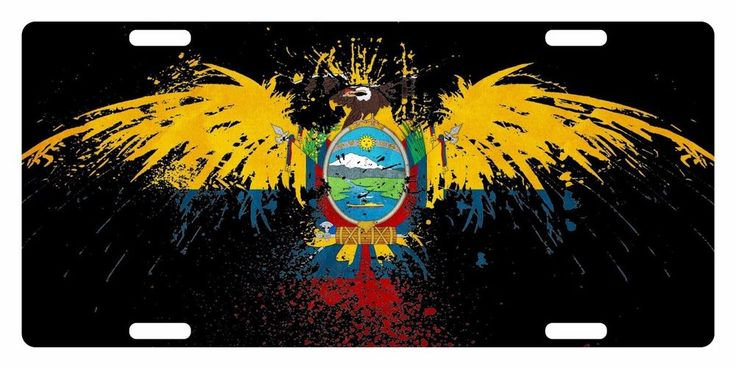 ECUADOR FLAG Custom License Plate South America Emblem Eagle  Version #FASTSERVICEDESIGNS