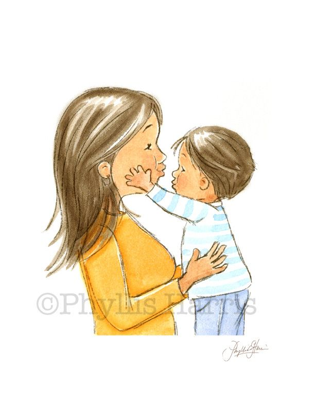 There is nothing like a mother's love for her son. This mother and son embracing is a sweet reminder of that love. I originally did this illustration for a book titled, My Mama & Me published in Augus
