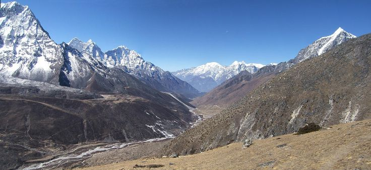 View down towards Dingboche and the valley that leads to Namche Bazar. The mountain fragment on the far left is Ama Dablam, the peak to the right is Taboche