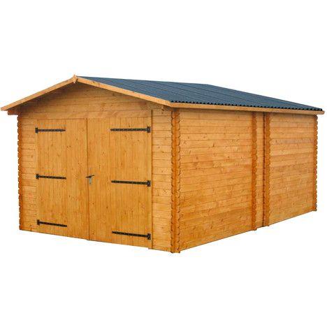 Garage pas cher Auchan, achat Garage bois 17,19 m² épicéa massif 28 mm Portes battantes 2,4m pas cher prix promo Auchan 1 919.00 € TTC