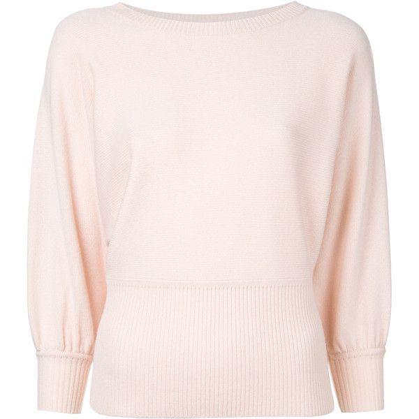 Chloé batwing sleeve top (3275 QAR) via Polyvore featuring tops, pink, three quarter sleeve tops, cashmere top, 3/4 sleeve tops, chloe top and pink top