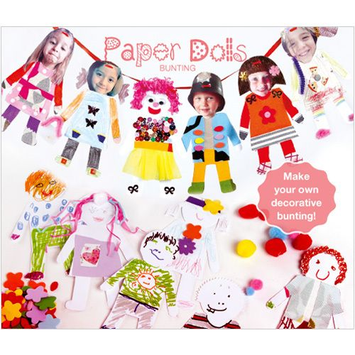 Decorative, personal and interactive for all the family - Paper Dolls Bunting (includes 20 push-out figures and 4 metres of ribbon) www.phoenixcardstracy.co.uk Phoenixcardstracy@gmail.com