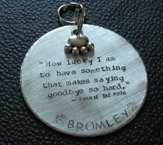 $34+ Pet memorial 2-inch diameter ornament with Winnie the Pooh quote. 18-gauge copper or 16-gauge aluminum, sterling silver (can include dates on this option) custom stamped, antique finish, decorative edges, w/ paw print charm