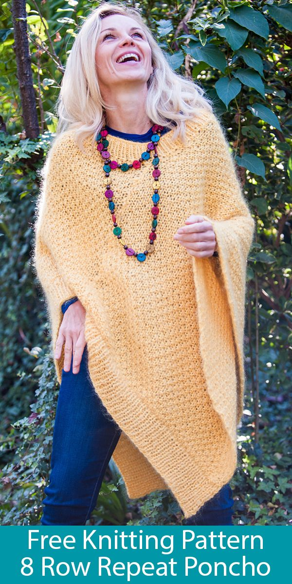 Free Knitting Patterns for Love Joy Poncho with 8 Row Repeat 1