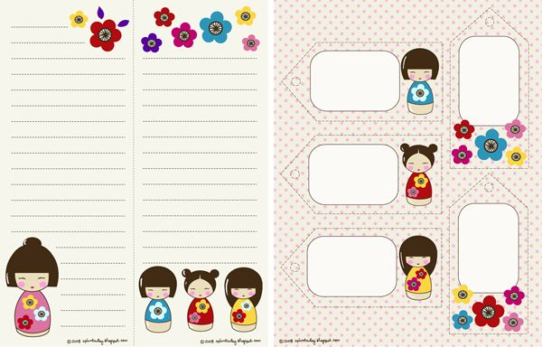 A Print A Day's got some adorable new downloads on her blog featuring her Kokeshi list pad and gift tags printables.
