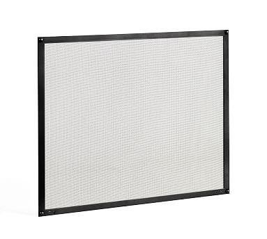 """Custom Industrial Fireplace Single Screen, 44 x 36"""", Matte Black"""
