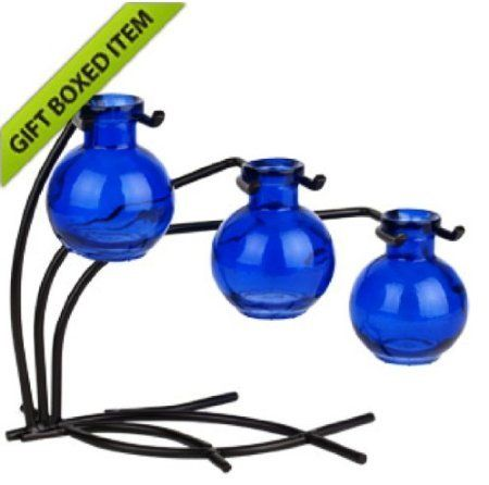Home Chic Colored Glass Floral Bud Or Rooting 3 Vase Set With Stand Aqua Use As Flower Plant Starter Colorful Gift Box Included You Can Get