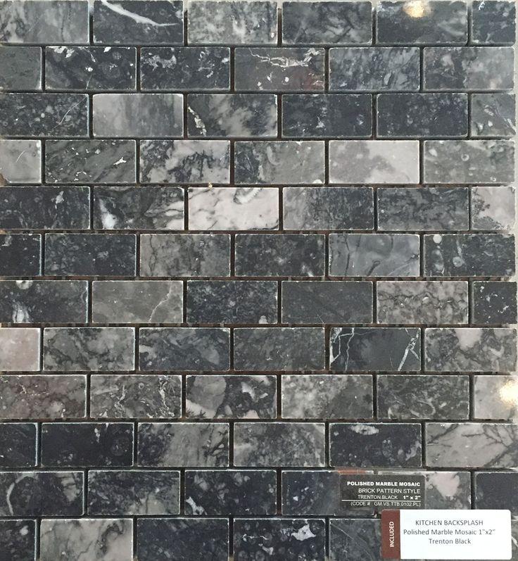 Included Kitchen Backsplash Tile - Polished Marble Mosaic 1x2 - Trenton Black