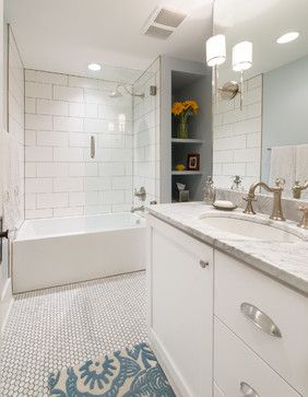 Generous use of vintage-looking tile throughout Old Town bungalow bathroom remodel. http://www.houzz.com/photos/15056946/Mountain-II-transitional-bathroom-denver
